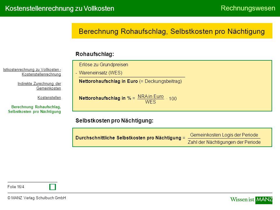 © MANZ Verlag Schulbuch GmbH Rechnungswesen Folie 16/4 Kostenstellenrechnung zu Vollkosten Berechnung Rohaufschlag, Selbstkosten pro Nächtigung Rohauf