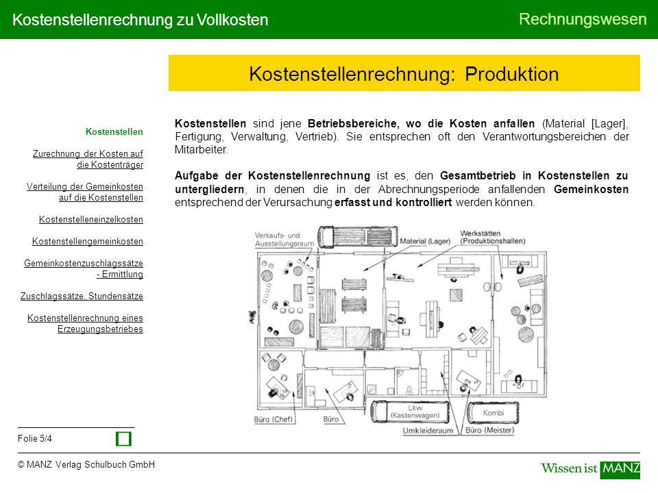 © MANZ Verlag Schulbuch GmbH Rechnungswesen Folie 6/4 Kostenstellenrechnung zu Vollkosten Zurechnung der Kosten auf die Kostenträger Gesamtkosten laut Kostenartenrechnung (BÜB) Einzelkosten (z.