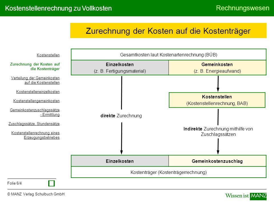 © MANZ Verlag Schulbuch GmbH Rechnungswesen Folie 6/4 Kostenstellenrechnung zu Vollkosten Zurechnung der Kosten auf die Kostenträger Gesamtkosten laut