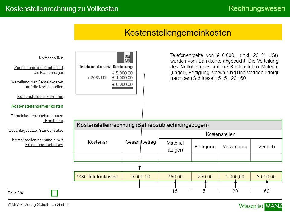 © MANZ Verlag Schulbuch GmbH Rechnungswesen Folie 8/4 Kostenstellenrechnung zu Vollkosten Kostenstellengemeinkosten Telefonentgelte von € 6.000,- (ink