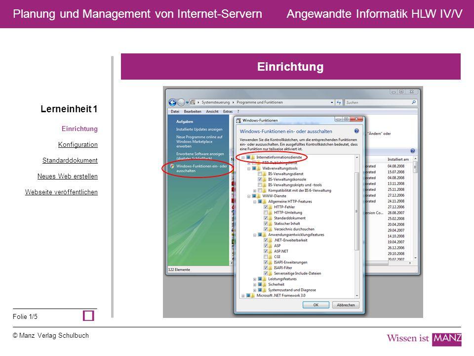 © Manz Verlag Schulbuch Angewandte Informatik HLW IV/V Folie 1/5 Planung und Management von Internet-Servern Einrichtung Lerneinheit 1 Einrichtung Kon