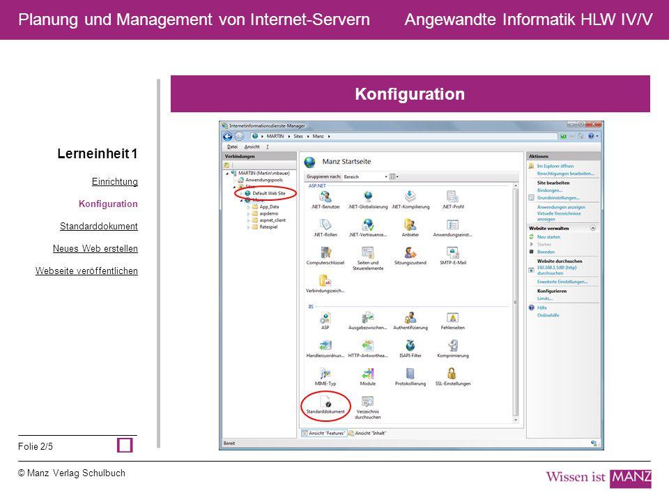 © Manz Verlag Schulbuch Angewandte Informatik HLW IV/V Folie 2/5 Planung und Management von Internet-Servern Konfiguration Lerneinheit 1 Einrichtung K