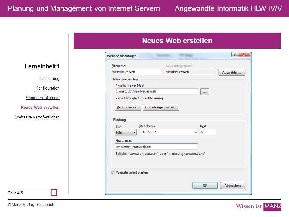 © Manz Verlag Schulbuch Angewandte Informatik HLW IV/V Folie 4/5 Planung und Management von Internet-Servern Neues Web erstellen Lerneinheit 1 Einrich