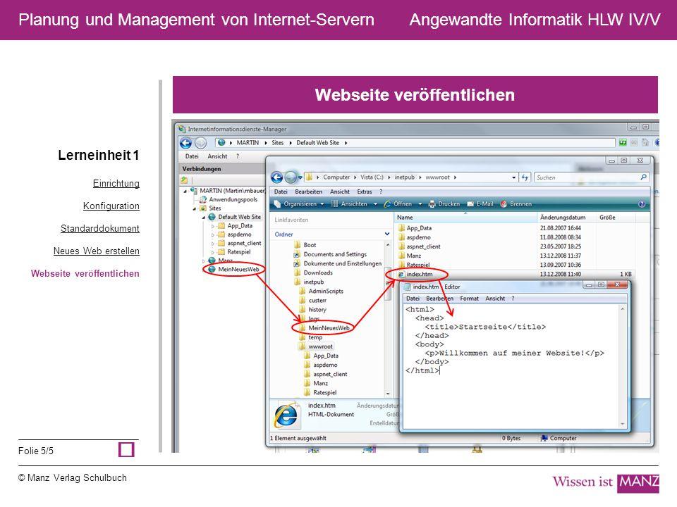 © Manz Verlag Schulbuch Angewandte Informatik HLW IV/V Folie 5/5 Planung und Management von Internet-Servern Webseite veröffentlichen Lerneinheit 1 Ei