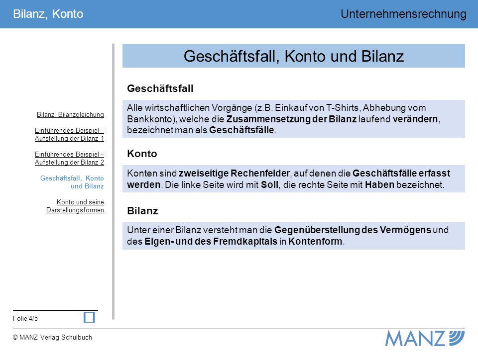 Folie 4/5 Bilanz, Konto © MANZ Verlag Schulbuch Unternehmensrechnung Geschäftsfall, Konto und Bilanz Alle wirtschaftlichen Vorgänge (z.B. Einkauf von