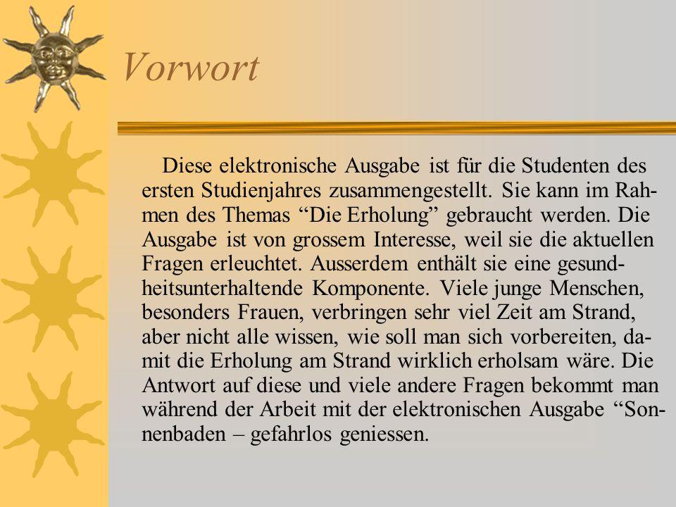 Vorwort Diese elektronische Ausgabe ist für die Studenten des ersten Studienjahres zusammengestellt.