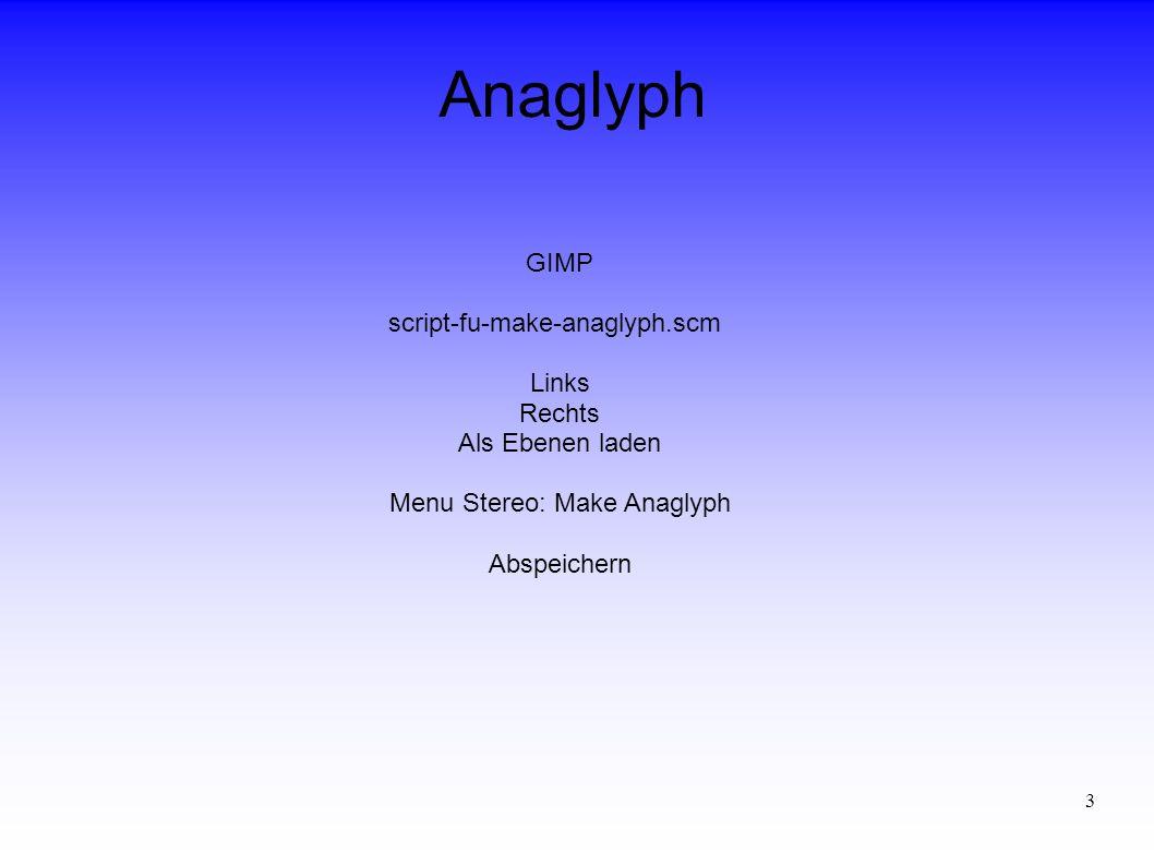 3 Anaglyph GIMP script-fu-make-anaglyph.scm Links Rechts Als Ebenen laden Menu Stereo: Make Anaglyph Abspeichern