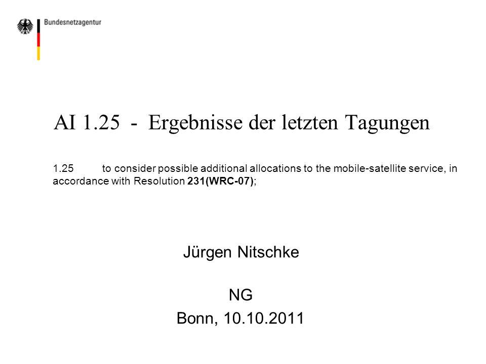 Ergebnis:  ECP Patt in der CPG hinsichtlich neuer Zuweisungen im Frequenzbereich um 15 GHz (6 Stimmen für, 6 Stimmen gegen neue Zuweisungen) Vorgabe der CPG: Lösungen für zusätzliche Zuweisungen an den MSS auf der Basis einer Sekundärzuweisung für den MSS im 15 GHz Bereich erarbeiten Deutsche Position Aus deutscher Sicht wäre eine primäre Zuweisung im Frequenzbereich um 15 GHz möglich, dabei ist jedoch der Schutz des Radioastronomiefunkdienstes sicherzustellen.