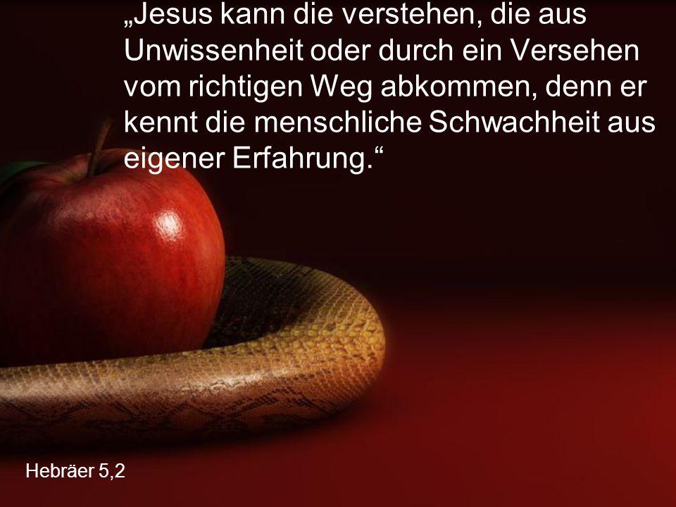 """Hebräer 5,2 """"Jesus kann die verstehen, die aus Unwissenheit oder durch ein Versehen vom richtigen Weg abkommen, denn er kennt die menschliche Schwachh"""