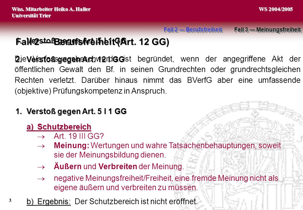 Wiss. Mitarbeiter Heiko A. Haller Universität Trier 3 WS 2004/2005 1.Verstoß gegen Art. 5 I 1 GG Fall 2 — Berufsfreiheit (Art. 12 GG) Die Verfassungsb