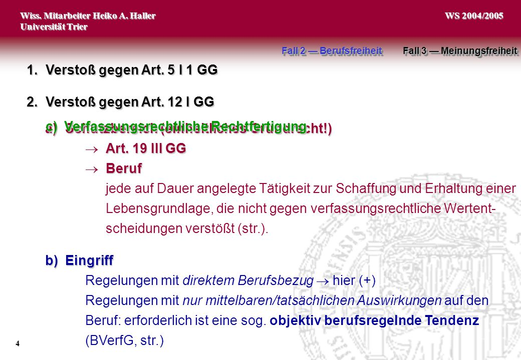 Wiss. Mitarbeiter Heiko A. Haller Universität Trier 4 WS 2004/2005 a)Schutzbereich (einheitliches Grundrecht!) Art. 19 III GG  Art. 19 III GG Beruf 