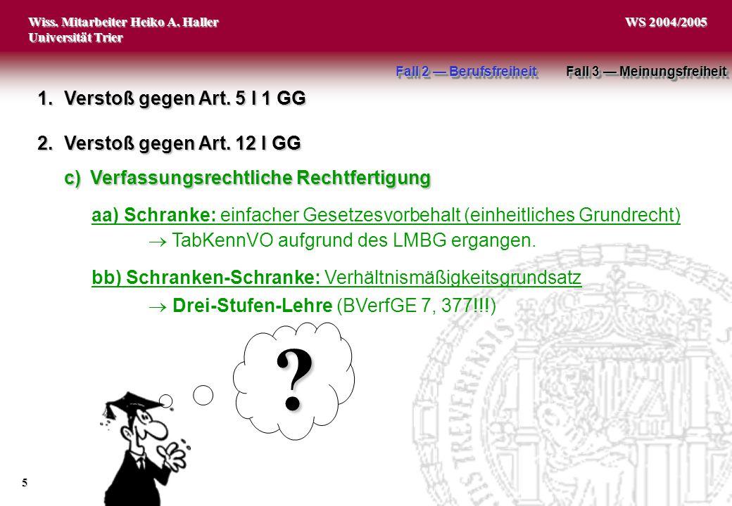 Wiss. Mitarbeiter Heiko A. Haller Universität Trier 5 WS 2004/2005 1.Verstoß gegen Art. 5 I 1 GG 2.Verstoß gegen Art. 12 I GG aa) Schranke: einfacher