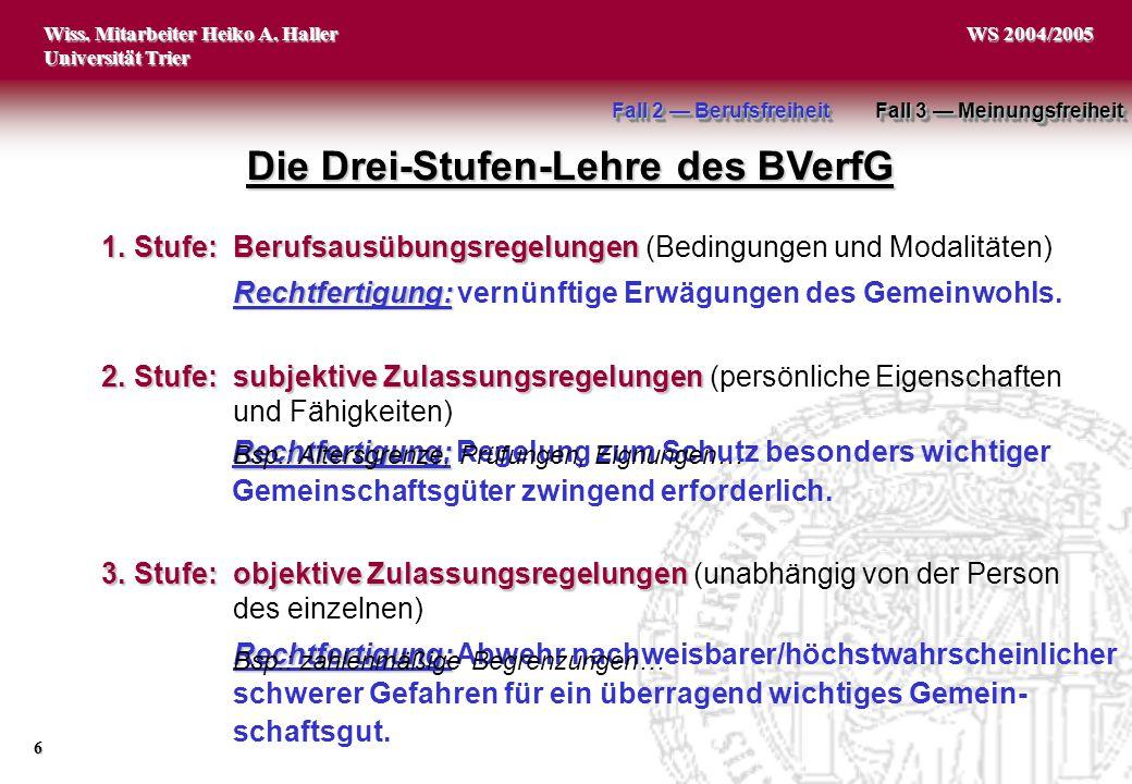 Wiss. Mitarbeiter Heiko A. Haller Universität Trier 6 WS 2004/2005 Rechtfertigung: Rechtfertigung: Abwehr nachweisbarer/höchstwahrscheinlicher schwere