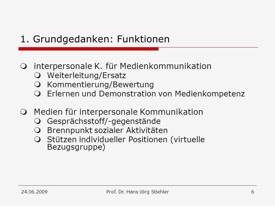 24.06.2009Prof. Dr. Hans-Jörg Stiehler6 1. Grundgedanken: Funktionen  interpersonale K.