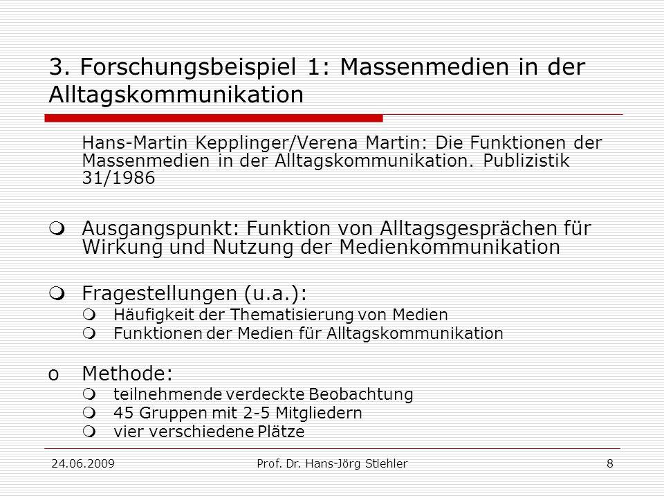 24.06.2009Prof.Dr. Hans-Jörg Stiehler9 3. Forschungsbeispiel 1: Alltagskommunikation 1.