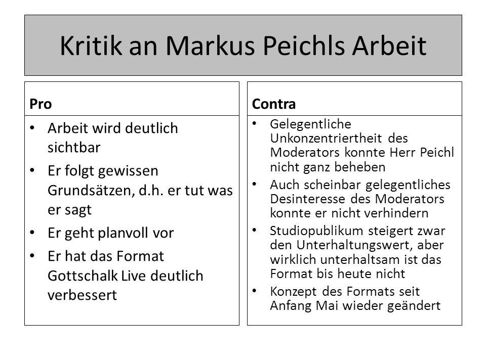 Kritik an Markus Peichls Arbeit Pro Arbeit wird deutlich sichtbar Er folgt gewissen Grundsätzen, d.h.