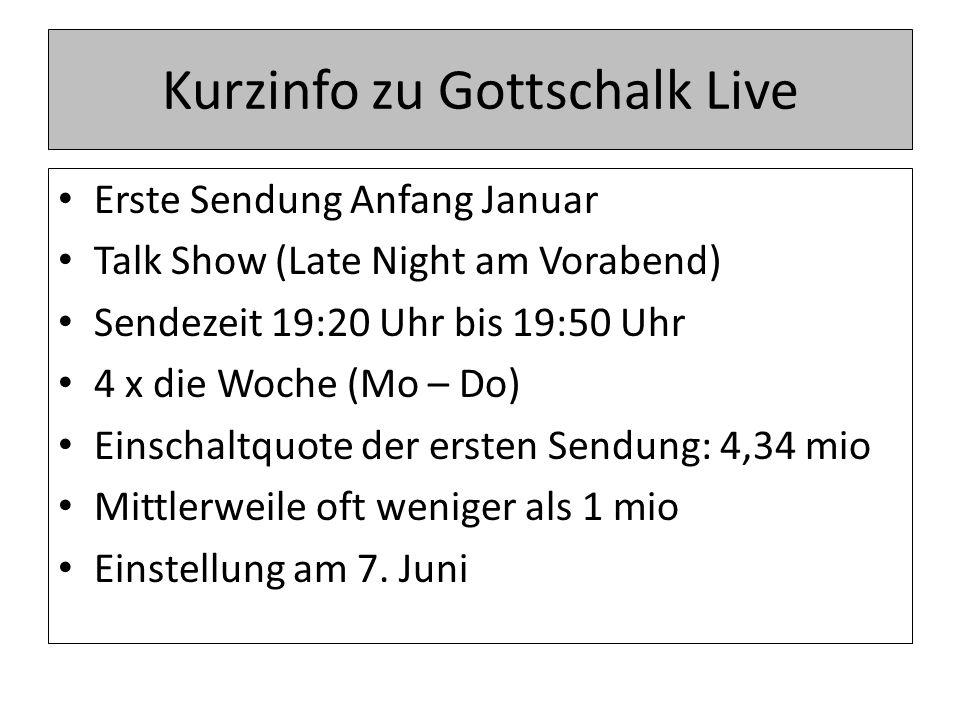 Kurzinfo zu Gottschalk Live Erste Sendung Anfang Januar Talk Show (Late Night am Vorabend) Sendezeit 19:20 Uhr bis 19:50 Uhr 4 x die Woche (Mo – Do) Einschaltquote der ersten Sendung: 4,34 mio Mittlerweile oft weniger als 1 mio Einstellung am 7.