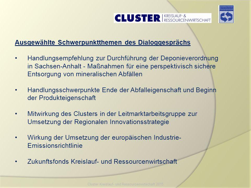 Ausgewählte Schwerpunktthemen des Dialoggesprächs Handlungsempfehlung zur Durchführung der Deponieverordnung in Sachsen-Anhalt - Maßnahmen für eine pe