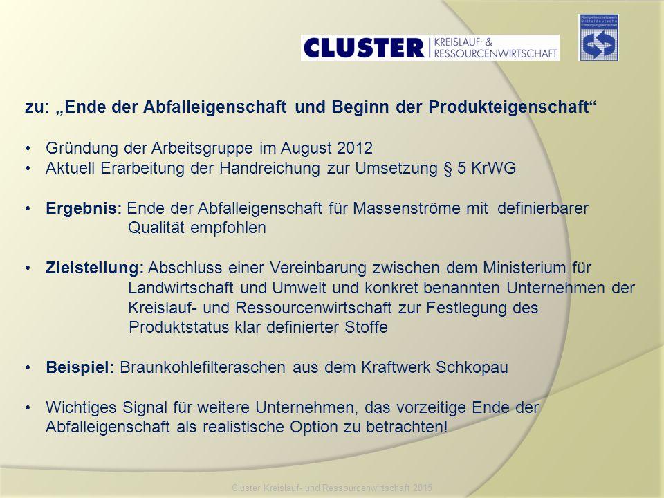 """zu: """"Ende der Abfalleigenschaft und Beginn der Produkteigenschaft"""" Gründung der Arbeitsgruppe im August 2012 Aktuell Erarbeitung der Handreichung zur"""
