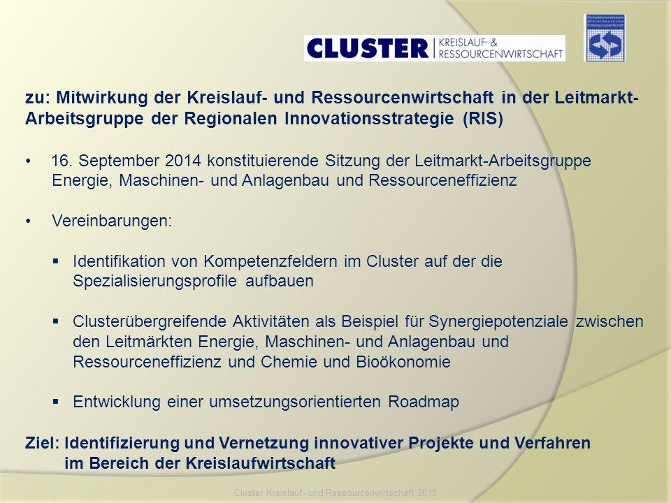 zu: Mitwirkung der Kreislauf- und Ressourcenwirtschaft in der Leitmarkt- Arbeitsgruppe der Regionalen Innovationsstrategie (RIS) 16. September 2014 ko
