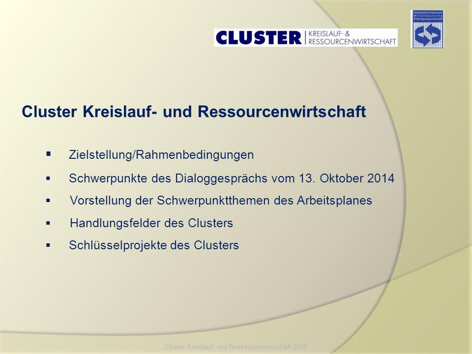 Zielstellung der Clusterarbeit:  Organisation einer höheren Qualität und Intensität der Zusammenarbeit zwischen den Unternehmen der Kreislauf- und Ressourcenwirtschaft, Verbänden, Hochschul-, Bildungs- und Forschungseinrichtungen sowie Politik und Verwaltung Rahmenbedingungen:  Cluster arbeitet seit 1.