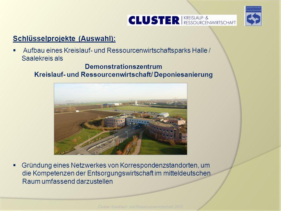 Schlüsselprojekte (Auswahl):  Aufbau eines Kreislauf- und Ressourcenwirtschaftsparks Halle / Saalekreis als Demonstrationszentrum Kreislauf- und Ress