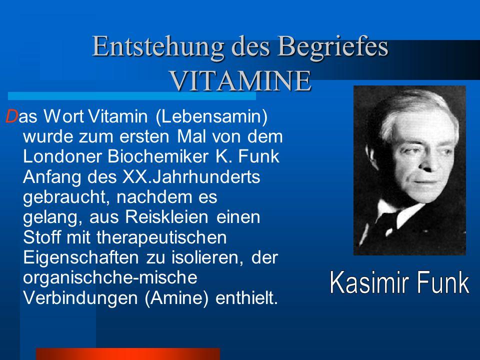 Entstehung des Begriefes VITAMINE Das Wort Vitamin (Lebensamin) wurde zum ersten Mal von dem Londoner Biochemiker K. Funk Anfang des XX.Jahrhunderts g