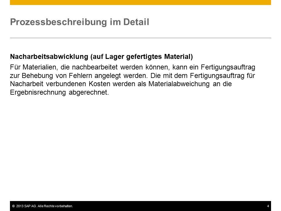 ©2013 SAP AG. Alle Rechte vorbehalten.4 Prozessbeschreibung im Detail Nacharbeitsabwicklung (auf Lager gefertigtes Material) Für Materialien, die nach