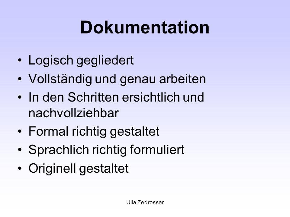 Ulla Zedrosser Dokumentation Logisch gegliedert Vollständig und genau arbeiten In den Schritten ersichtlich und nachvollziehbar Formal richtig gestaltet Sprachlich richtig formuliert Originell gestaltet