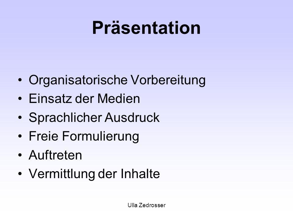Ulla Zedrosser Präsentation Organisatorische Vorbereitung Einsatz der Medien Sprachlicher Ausdruck Freie Formulierung Auftreten Vermittlung der Inhalt
