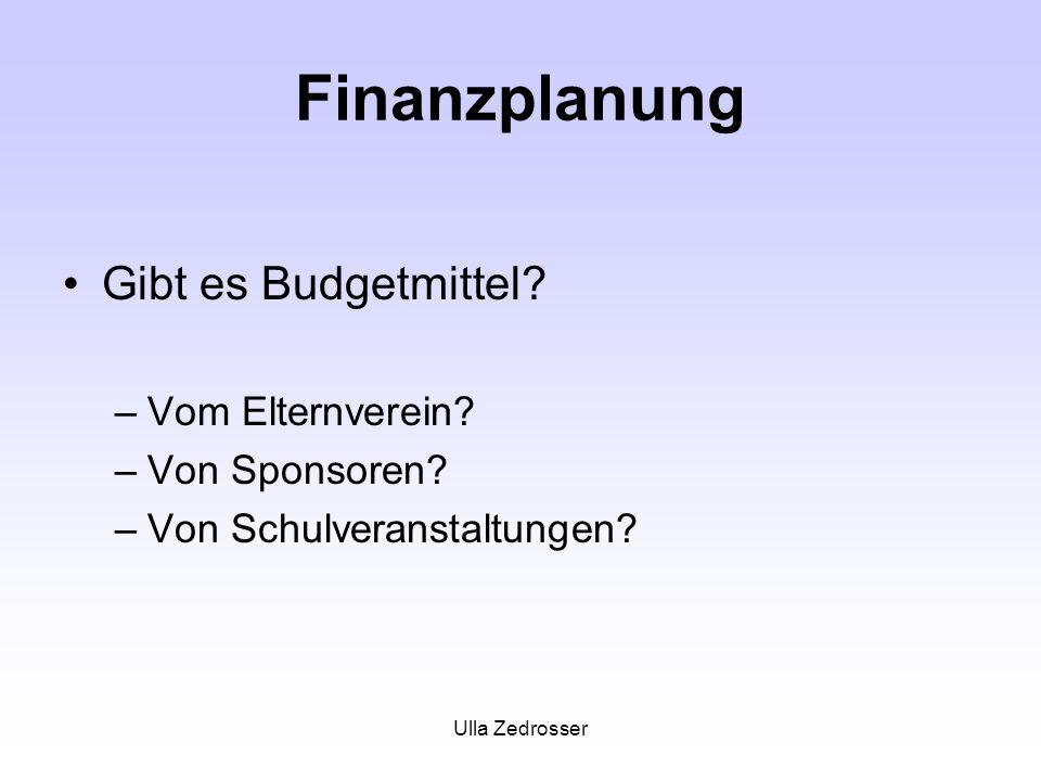 Ulla Zedrosser Finanzplanung Gibt es Budgetmittel? –Vom Elternverein? –Von Sponsoren? –Von Schulveranstaltungen?