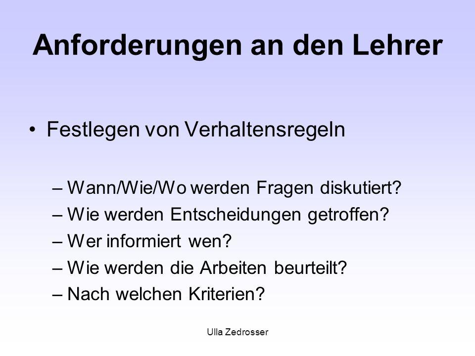 Ulla Zedrosser Anforderungen an den Lehrer Festlegen von Verhaltensregeln –Wann/Wie/Wo werden Fragen diskutiert? –Wie werden Entscheidungen getroffen?