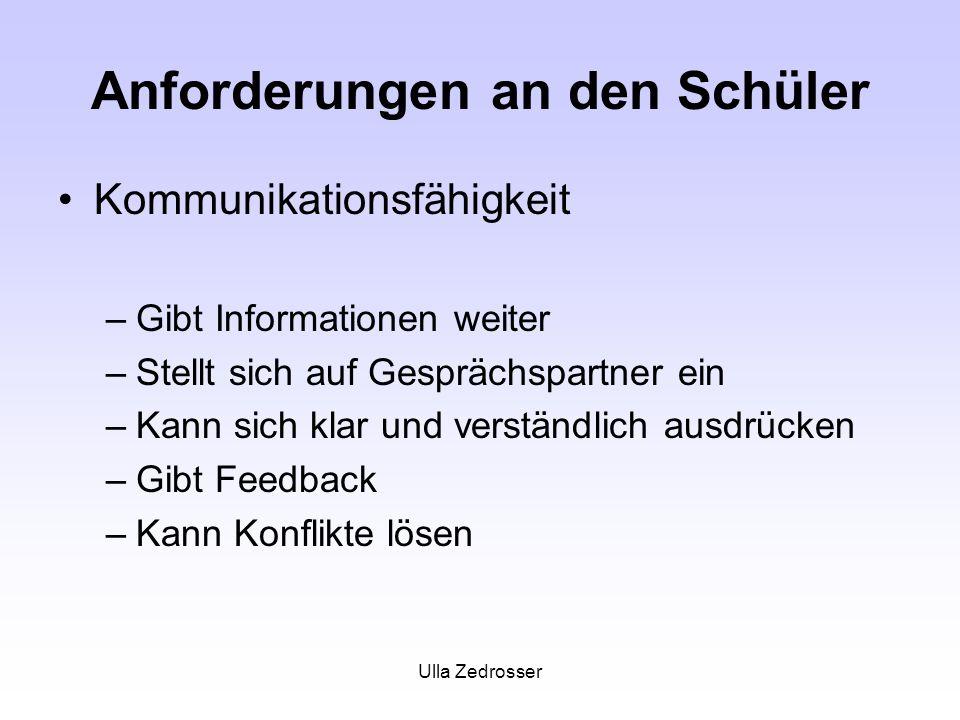 Ulla Zedrosser Anforderungen an den Schüler Kommunikationsfähigkeit –Gibt Informationen weiter –Stellt sich auf Gesprächspartner ein –Kann sich klar u