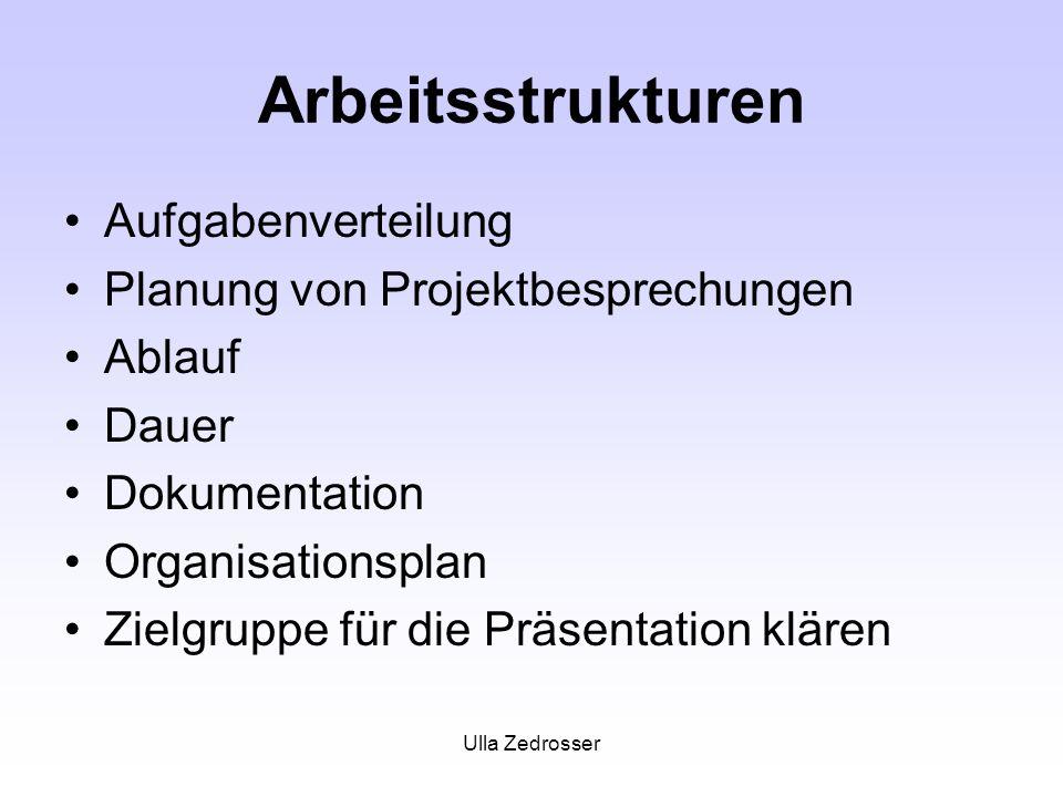 Ulla Zedrosser Arbeitsstrukturen Aufgabenverteilung Planung von Projektbesprechungen Ablauf Dauer Dokumentation Organisationsplan Zielgruppe für die Präsentation klären