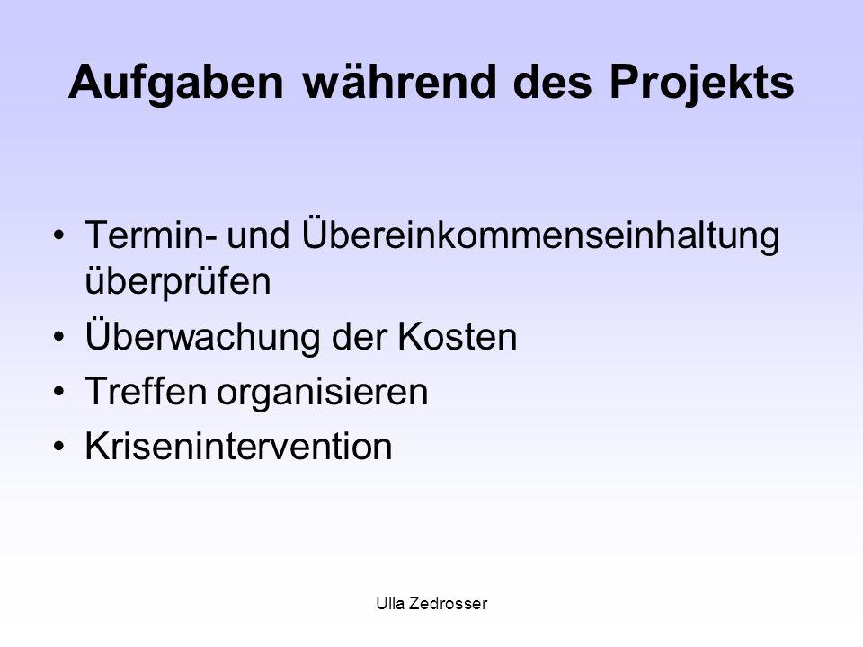 Ulla Zedrosser Aufgaben während des Projekts Termin- und Übereinkommenseinhaltung überprüfen Überwachung der Kosten Treffen organisieren Kriseninterve