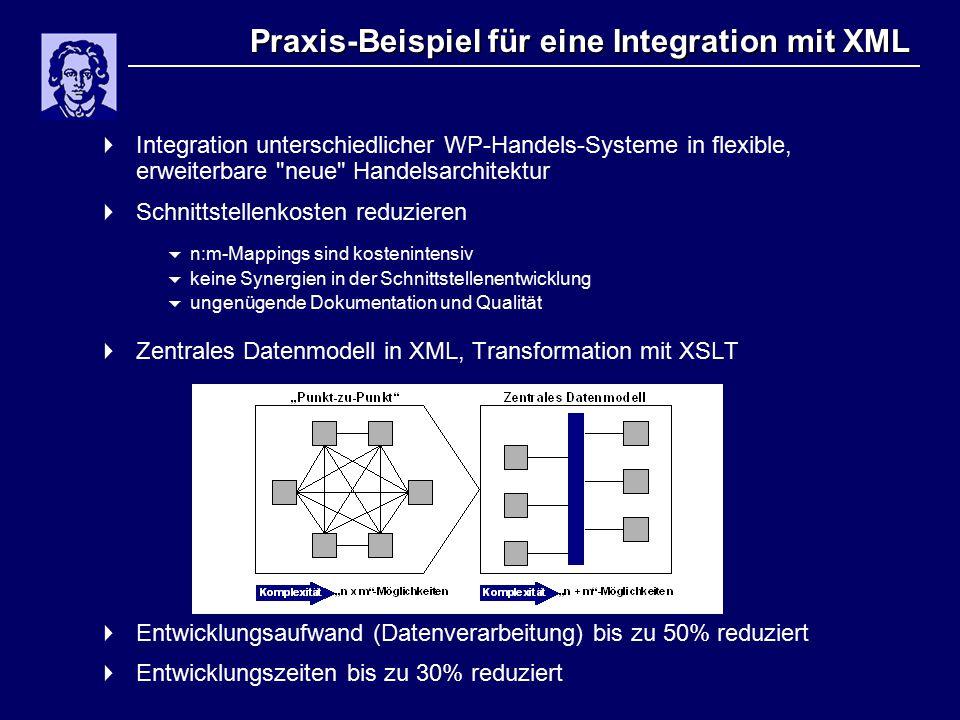 Praxis-Beispiel für eine Integration mit XML  Integration unterschiedlicher WP-Handels-Systeme in flexible, erweiterbare neue Handelsarchitektur  Schnittstellenkosten reduzieren  n:m-Mappings sind kostenintensiv  keine Synergien in der Schnittstellenentwicklung  ungenügende Dokumentation und Qualität  Zentrales Datenmodell in XML, Transformation mit XSLT  Entwicklungsaufwand (Datenverarbeitung) bis zu 50% reduziert  Entwicklungszeiten bis zu 30% reduziert