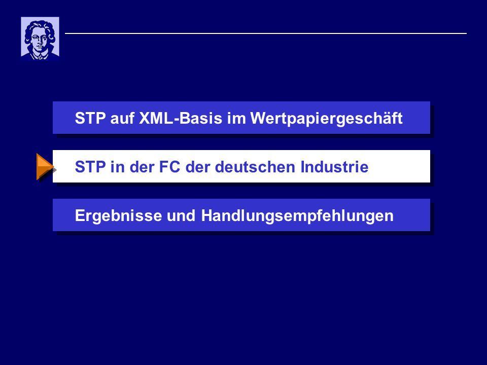 STP auf XML-Basis im WertpapiergeschäftErgebnisse und HandlungsempfehlungenSTP in der FC der deutschen Industrie