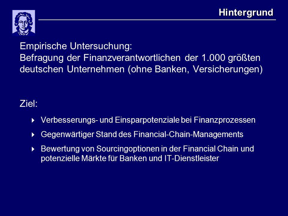 Hintergrund Empirische Untersuchung: Befragung der Finanzverantwortlichen der 1.000 größten deutschen Unternehmen (ohne Banken, Versicherungen) Ziel:  Verbesserungs- und Einsparpotenziale bei Finanzprozessen  Gegenwärtiger Stand des Financial-Chain-Managements  Bewertung von Sourcingoptionen in der Financial Chain und potenzielle Märkte für Banken und IT-Dienstleister