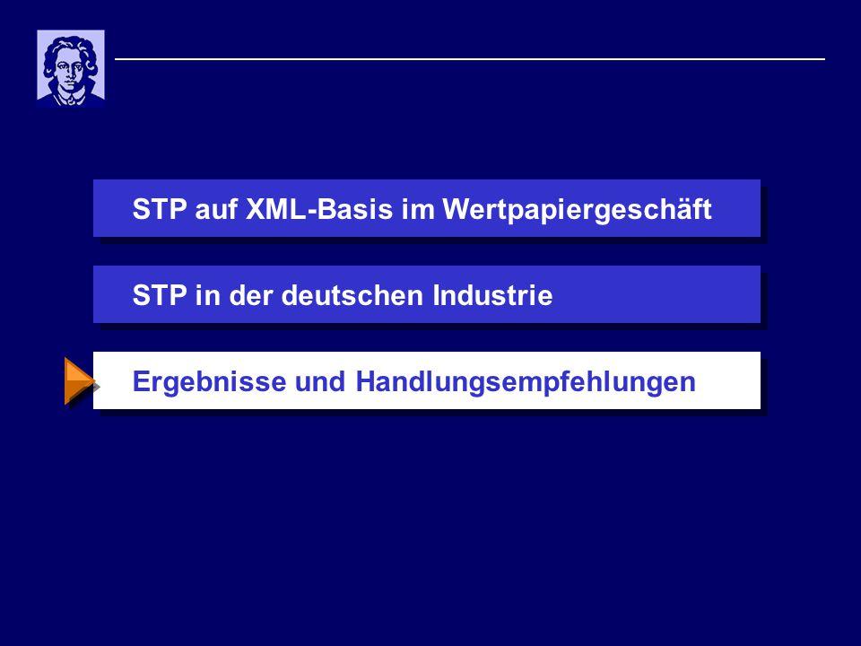 STP auf XML-Basis im WertpapiergeschäftErgebnisse und HandlungsempfehlungenSTP in der deutschen Industrie