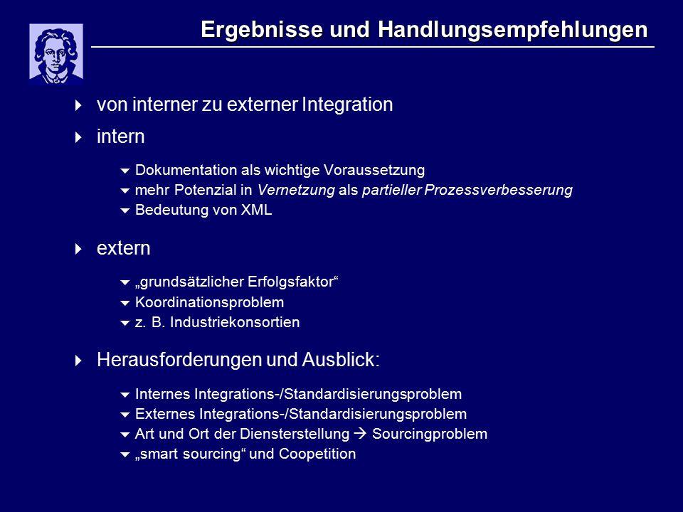 """Ergebnisse und Handlungsempfehlungen  von interner zu externer Integration  intern  Dokumentation als wichtige Voraussetzung  mehr Potenzial in Vernetzung als partieller Prozessverbesserung  Bedeutung von XML  extern  """"grundsätzlicher Erfolgsfaktor  Koordinationsproblem  z."""