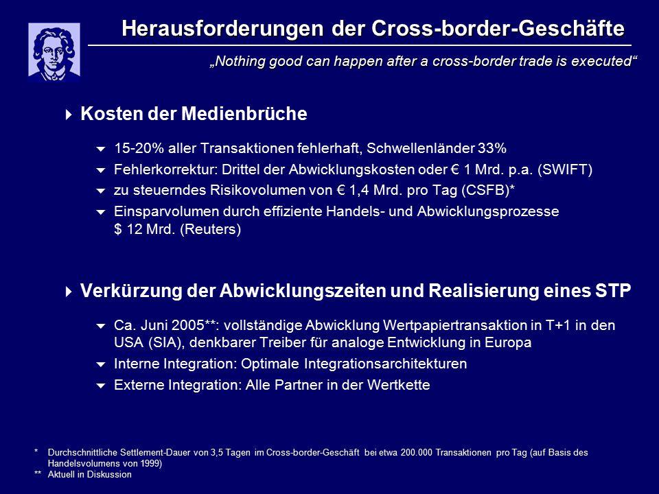 Herausforderungen der Cross-border-Geschäfte  Kosten der Medienbrüche  15-20% aller Transaktionen fehlerhaft, Schwellenländer 33%  Fehlerkorrektur: Drittel der Abwicklungskosten oder € 1 Mrd.