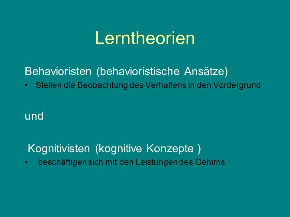Lerntheorien Behavioristen (behavioristische Ansätze) Stellen die Beobachtung des Verhaltens in den Vordergrund und Kognitivisten (kognitive Konzepte