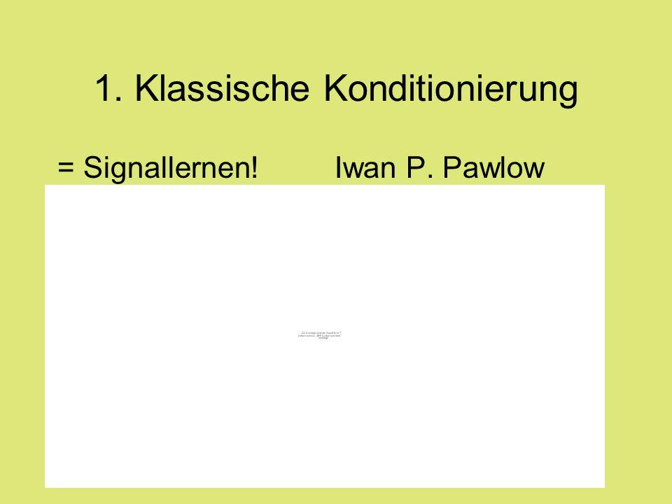 1. Klassische Konditionierung = Signallernen! Iwan P. Pawlow