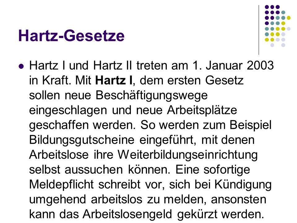 Hartz-Gesetze Hartz I und Hartz II treten am 1. Januar 2003 in Kraft. Mit Hartz I, dem ersten Gesetz sollen neue Beschäftigungswege eingeschlagen und