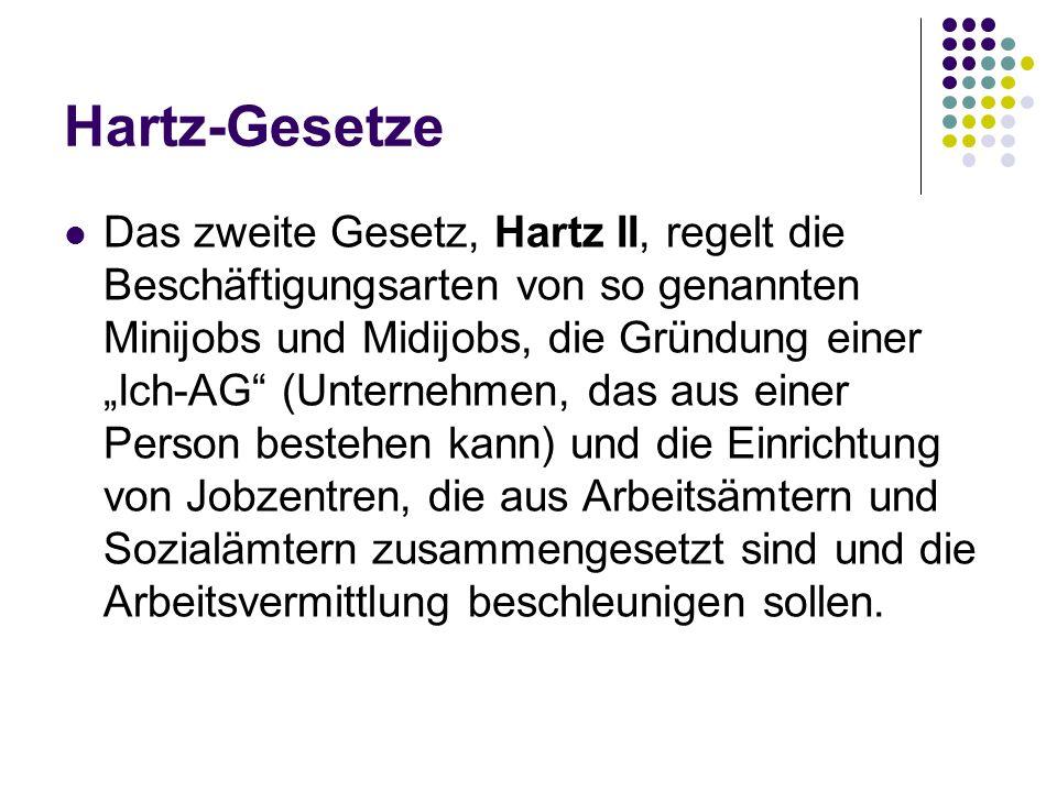 """Hartz-Gesetze Das zweite Gesetz, Hartz II, regelt die Beschäftigungsarten von so genannten Minijobs und Midijobs, die Gründung einer """"Ich-AG"""" (Unterne"""