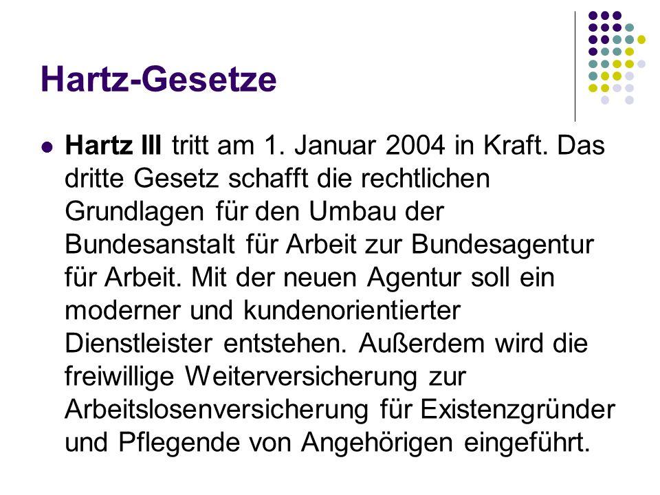 Hartz-Gesetze Hartz III tritt am 1. Januar 2004 in Kraft. Das dritte Gesetz schafft die rechtlichen Grundlagen für den Umbau der Bundesanstalt für Arb
