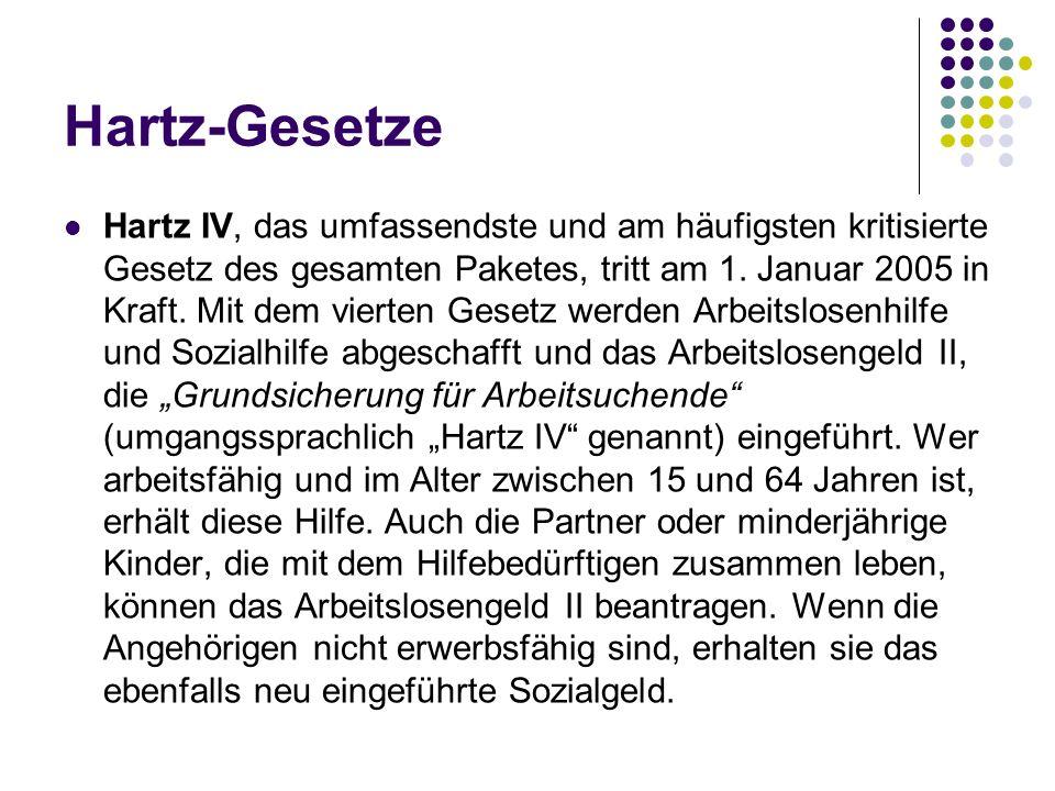 Hartz-Gesetze Hartz IV, das umfassendste und am häufigsten kritisierte Gesetz des gesamten Paketes, tritt am 1. Januar 2005 in Kraft. Mit dem vierten