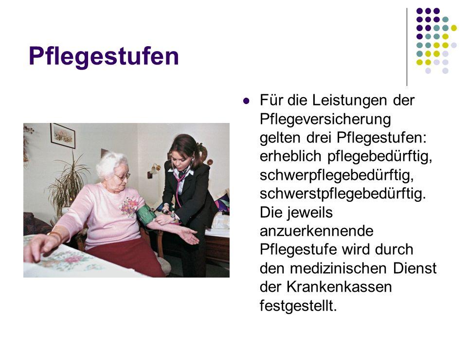 Pflegestufen Für die Leistungen der Pflegeversicherung gelten drei Pflegestufen: erheblich pflegebedürftig, schwerpflegebedürftig, schwerstpflegebedür