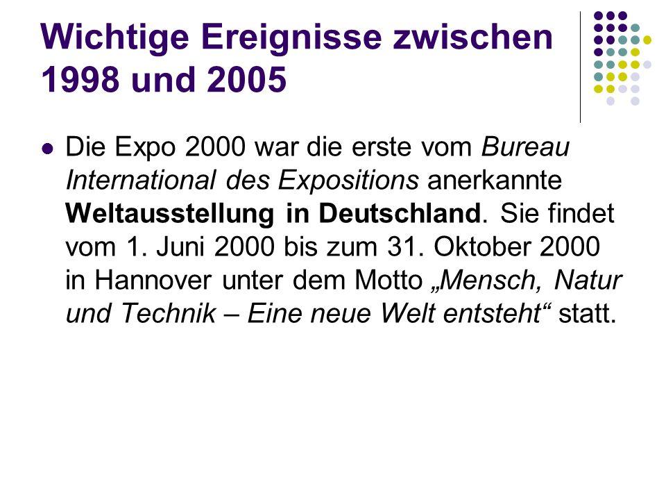 Wichtige Ereignisse zwischen 1998 und 2005 Die Expo 2000 war die erste vom Bureau International des Expositions anerkannte Weltausstellung in Deutschl