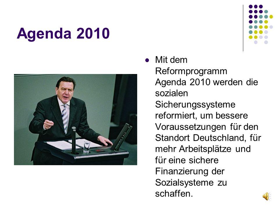 Agenda 2010 Mit dem Reformprogramm Agenda 2010 werden die sozialen Sicherungssysteme reformiert, um bessere Voraussetzungen für den Standort Deutschla